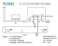 RZ-1158W插入式超声波流量计正确安装与接线图
