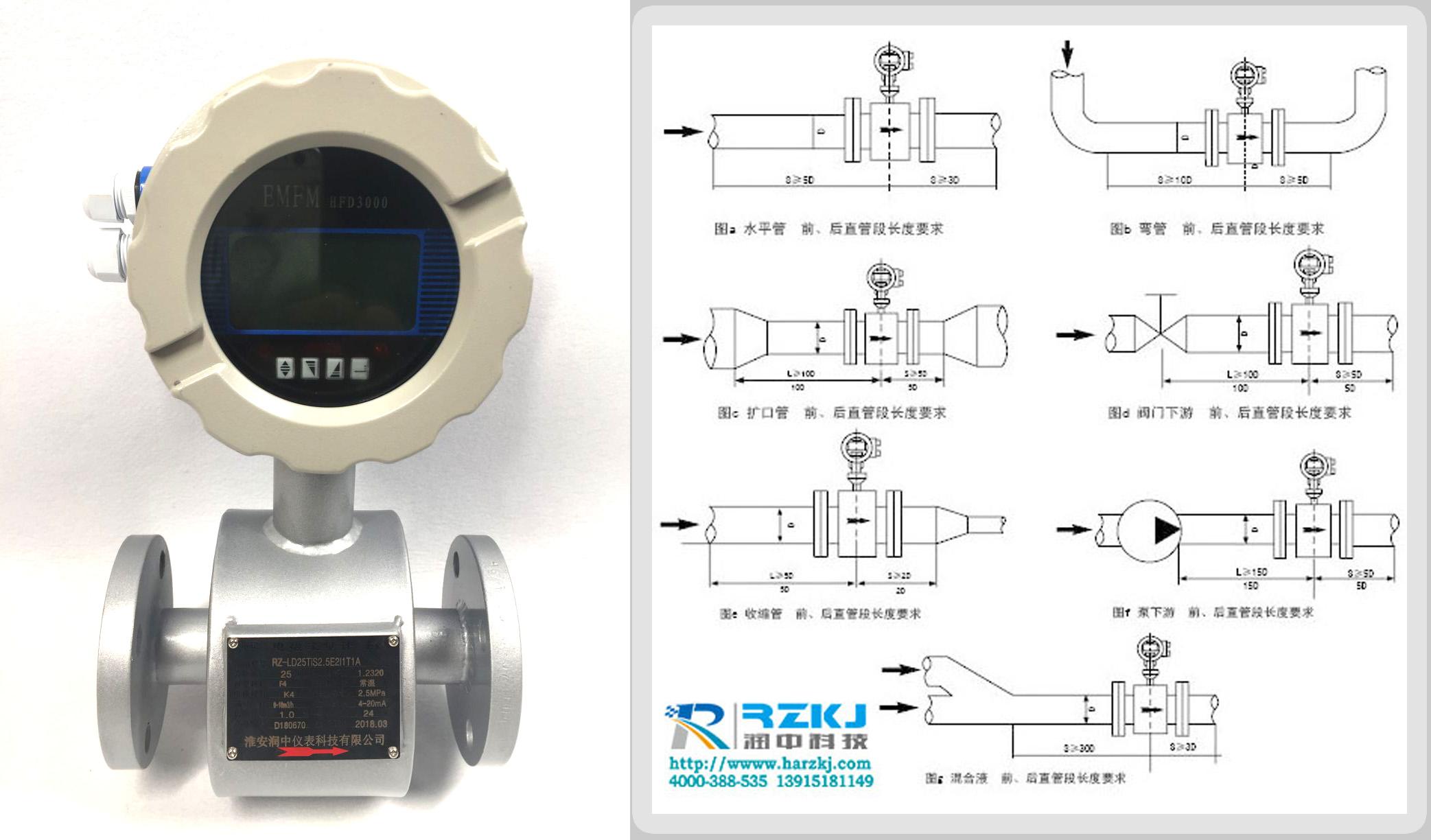 电磁流量计对于直管段的要求示意图